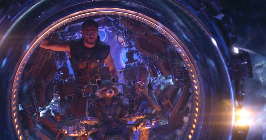 Thor, Rocket e Groot in una scena del film
