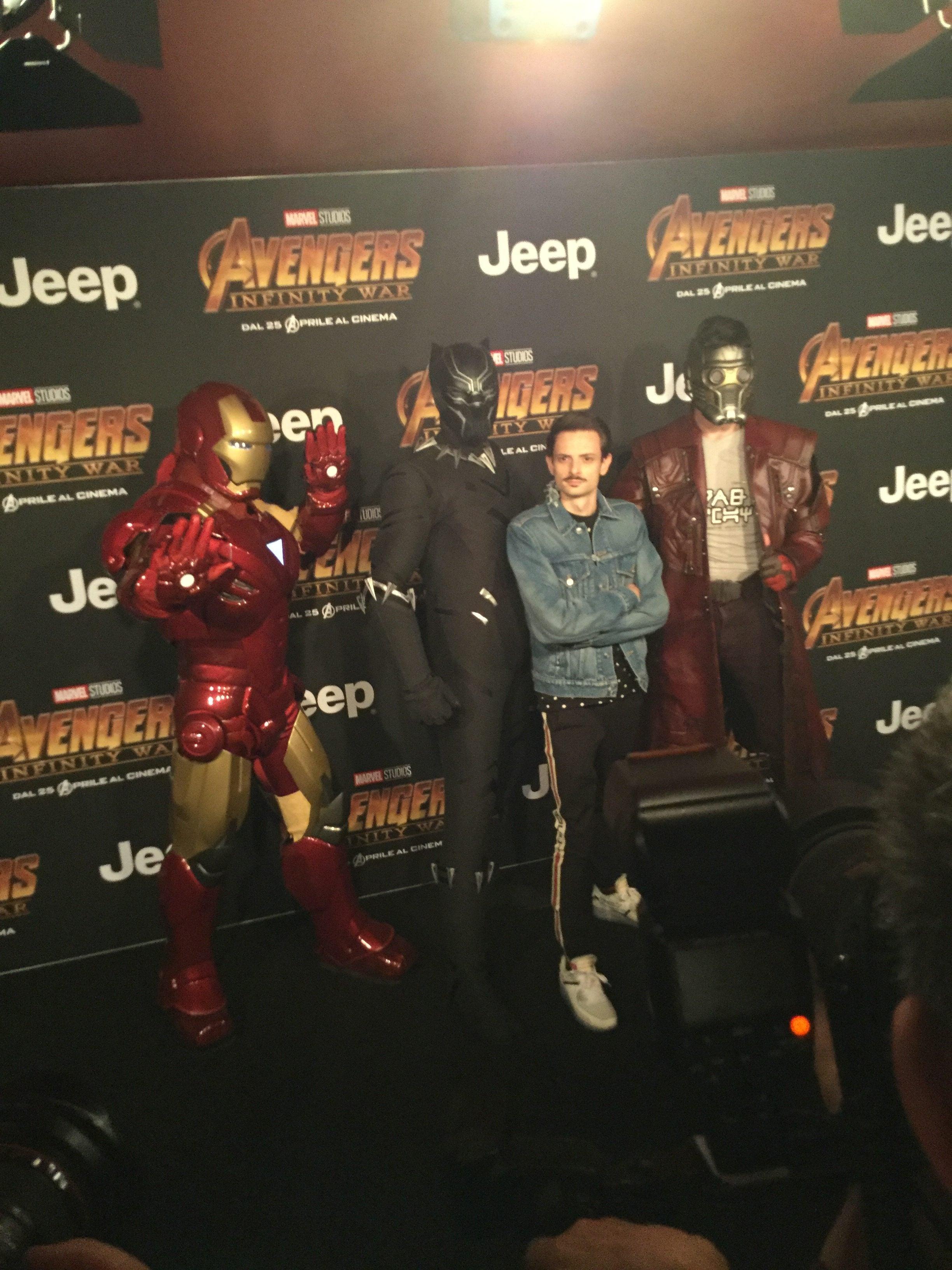 Fabio Rovazzi alla presentazione di Avangers, Infinity war.