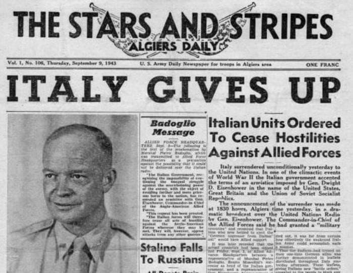 Accadde oggi: l'armistizio dell'8 settembre 1943
