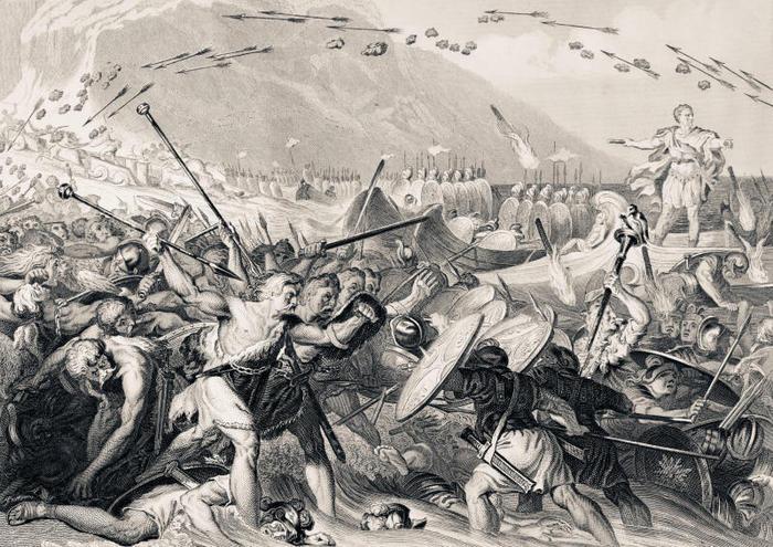 Cesare combatte i Britanni