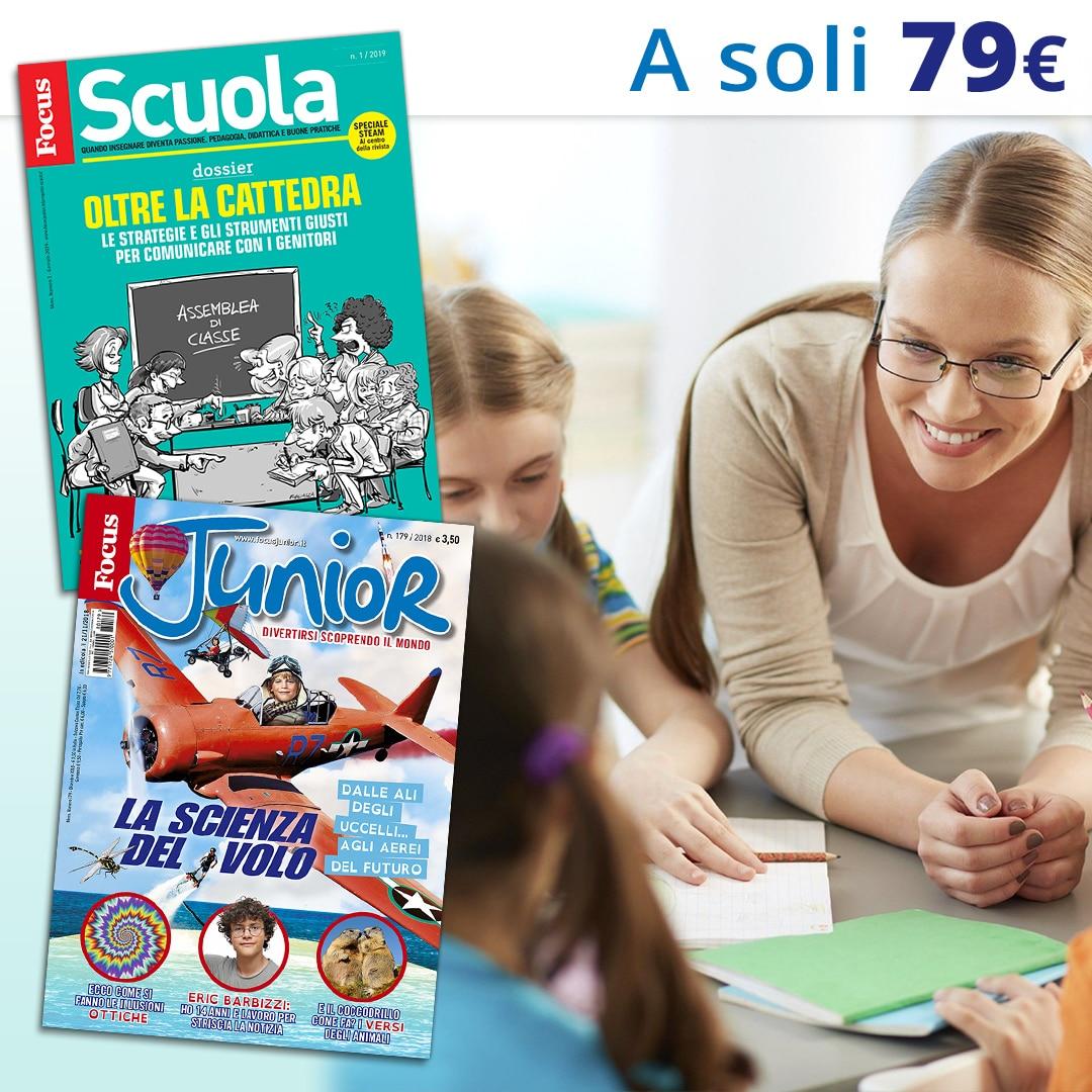 1 Anno di FOCUS SCUOLA + FOCUSJUNIOR AL PREZZO DI 79,00€. Abbonati!