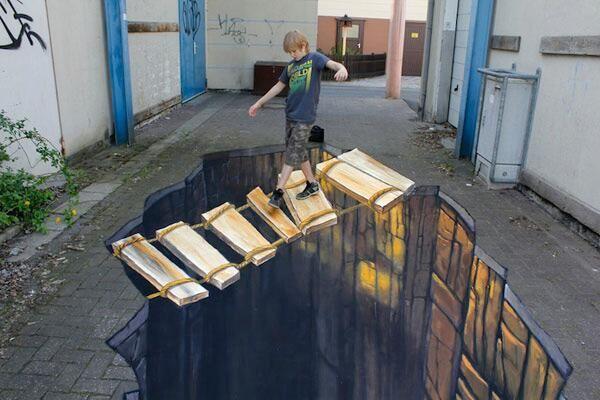 L'opera d'arte è a tre dimensioni. I migliori graffiti in 3D