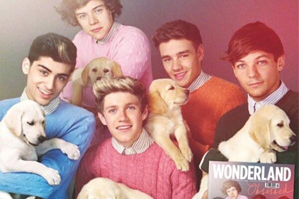 Gli One Direction con dei cuccioli di cani per un servizio fotografico!