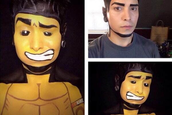 L'artista che diventa un supereroe con la sola forza del make up