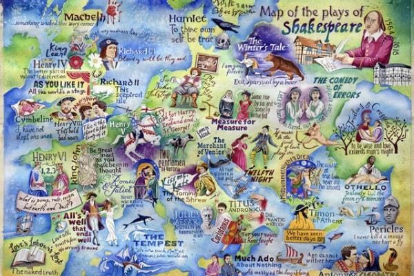 La mappa con tutte le ambientazioni delle opere di Shakespeare!
