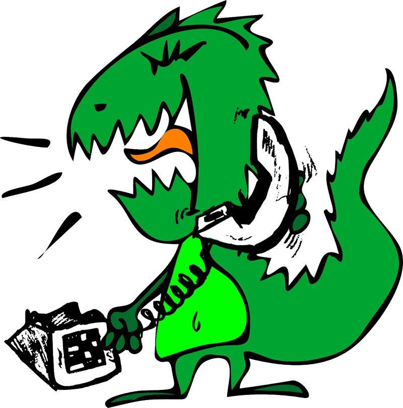 Dinosauro al telefono