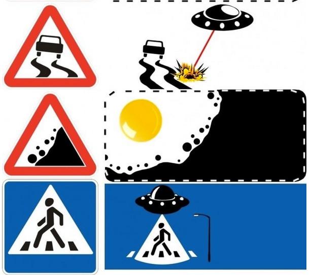"""Ufo, uova fritte e piovre. Ecco cosa si nasconde """"oltre"""" un semplice segnale stradale"""