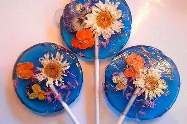 Lecca lecca di primavera con i fiori veri da mangiare