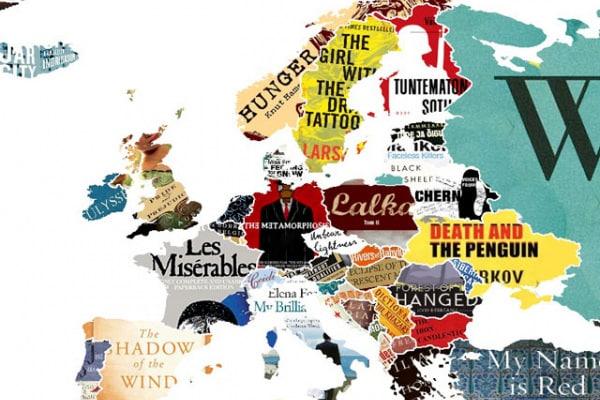 Geografia | La mappa del mondo fatta con i libri famosi