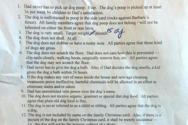 Vuoi il cane? Firma qui! Padre fa firmare ai figli un contratto per averlo