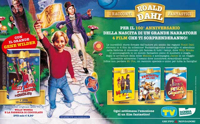 Da Willy Wonka a Mr. Fox, la magia di Roald Dahl in dvd