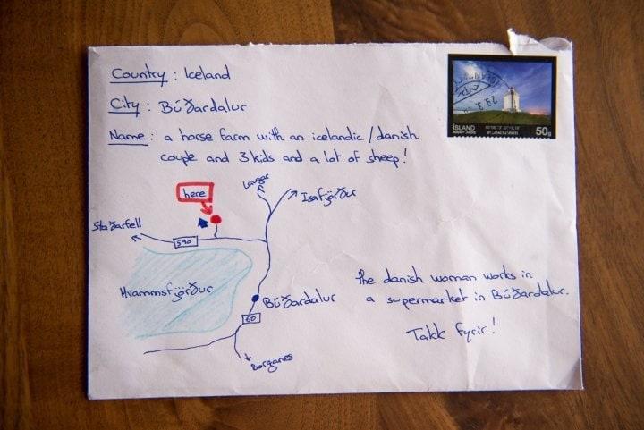 Islanda: la lettera viene consegnata grazie a una mappa disegnata a mano