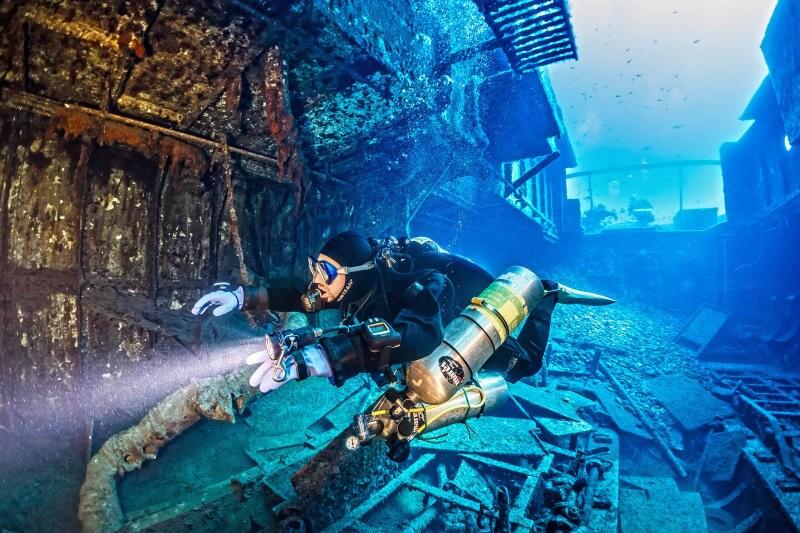 A nuoto nel relitto: i sub fotografano i resti di una nave affondata