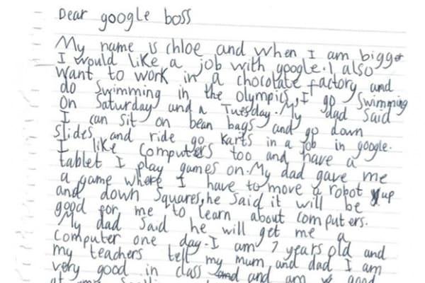 """Bimba scrive a Google per ottenere un lavoro. La risposta arriva direttamente dal boss: """"Risentiamoci dopo la scuola!"""""""
