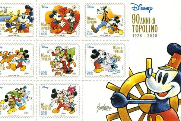 Topolino compie 90 anni e la Zecca stampa francobolli speciali